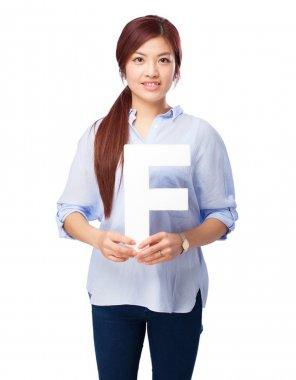 happy chinese woman with f letter