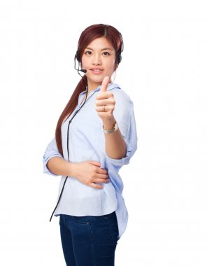 chinese woman okay sign with telephone