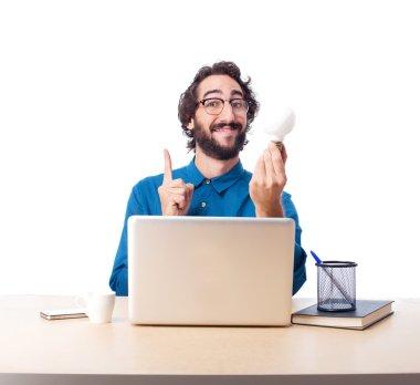 Businessman with laptop idea concept