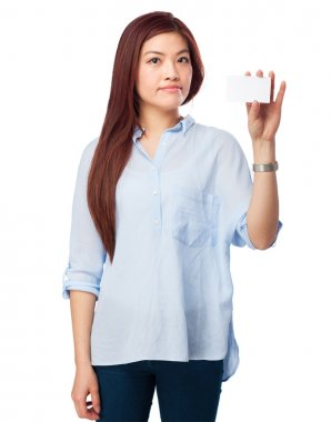 happy chinese woman with credit card