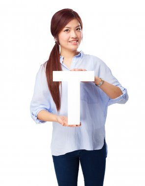 happy chinese woman with t letter