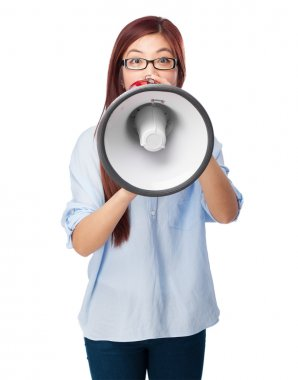 chinese woman shouting with megaphone