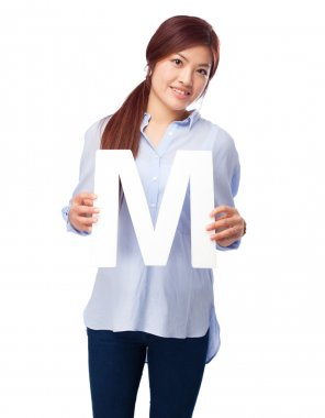 happy chinese woman with m letter