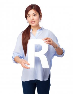 happy chinese woman with r letter