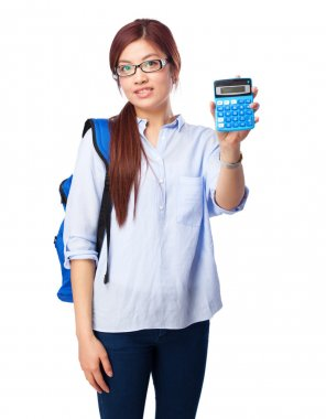 chinese woman thinking with calculator