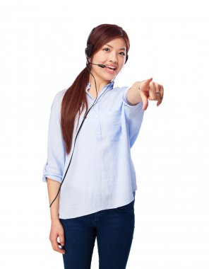 chinese woman pointing front with telephone