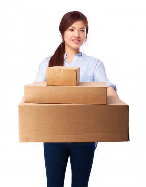 Happy chinese woman with boxes