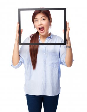happy chinese woman with black frame