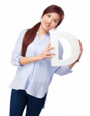 happy chinese woman with d letter