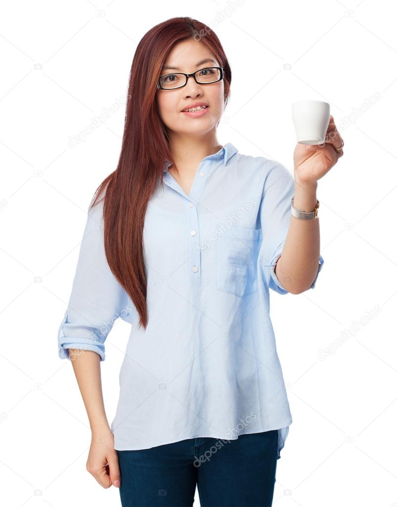 happy chinesewoman with coffee
