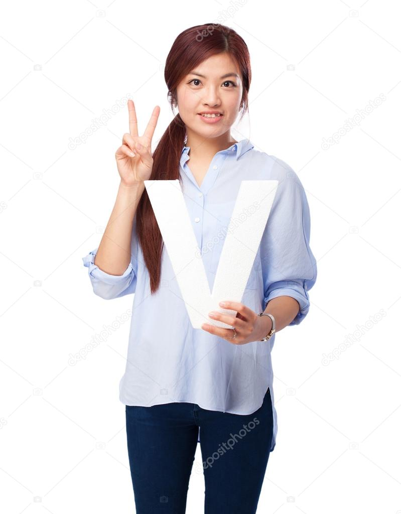 happy chinese woman with v letter