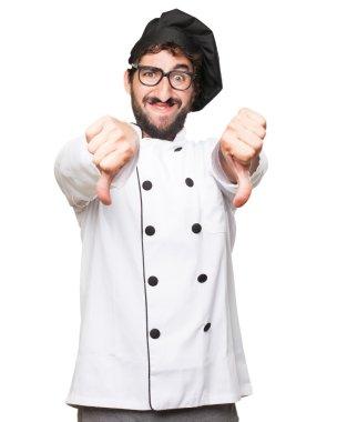 happy cook man disagree sign