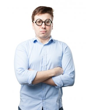 crazy young man in angry pose