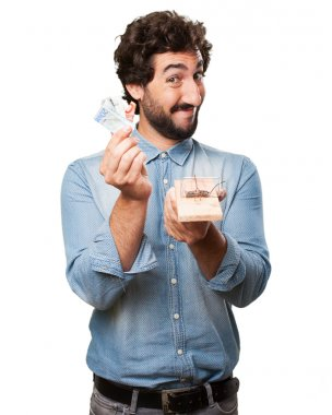 young man with mousetrap and bills