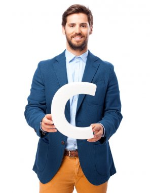 happy businessman letter c