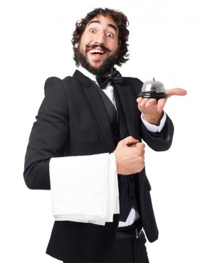 crazy waiter man with ring bell