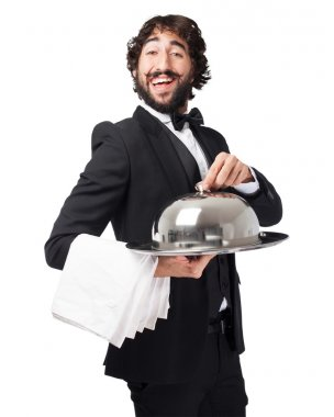 crazy waiter man with tray