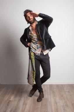 rock musician posing in studio