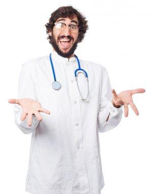 happy doctor man surprised pose