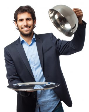 happy businessman with silver tray