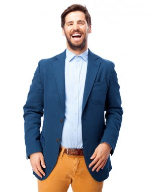 happy businessman laughing