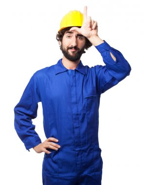 proud worker man loser sign