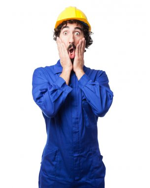 worried worker man surprised pose