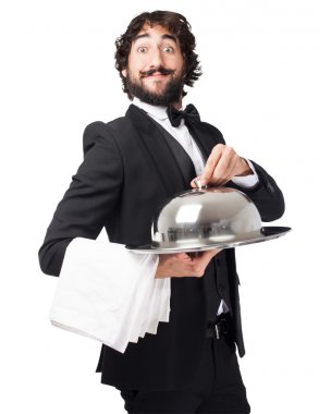 crazy waiter man with tray