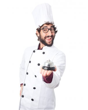 happy cook man with ring bell