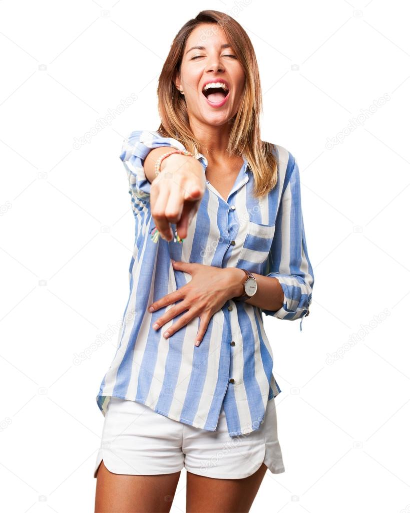 woman laughing pointing
