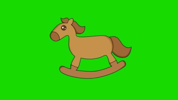 2 dimenziós animációs videó egy játék ló mozgó zöld alapon