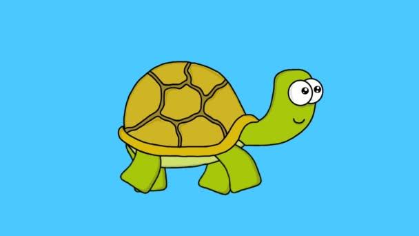 Animált rajzfilm vicces séta teknős videó