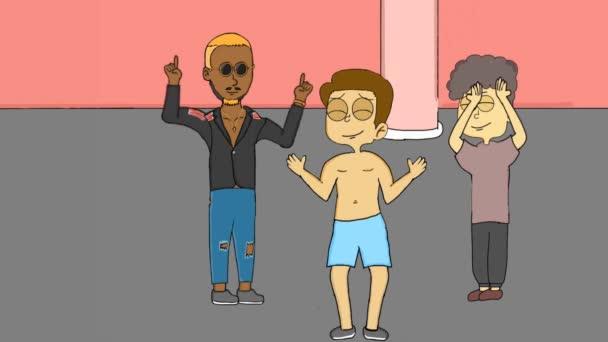 animációs videó egy csoport ember táncol egy bárban