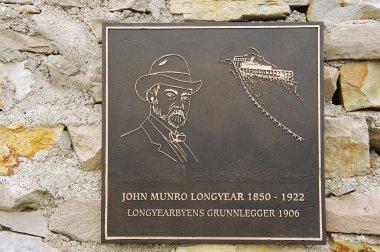 Exterior detail of the memorial to John Munro Longyear in Longyearbyen, Norway.