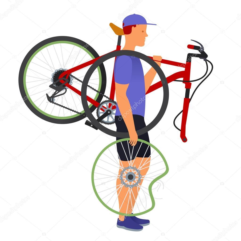 Un Uomo Porta Una Bicicletta Rotta E Ruota Vettoriali Stock