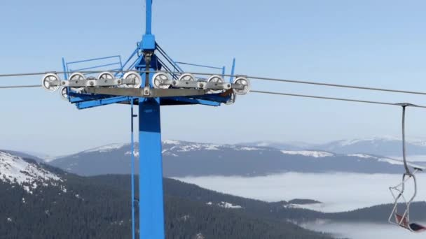 empty chair lift large empty chair lift on the top of mountain beautiful view background