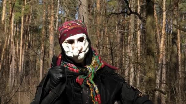 Face Mask of Costume Baba Yaga. Action in the Forest. u2014 Stock Video & Face Mask of Costume Baba Yaga. Action in the Forest. u2014 Stock Video ...