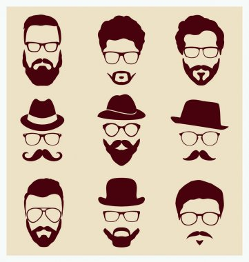 Set of hipster style mustache and mustaches, vector illustration icon