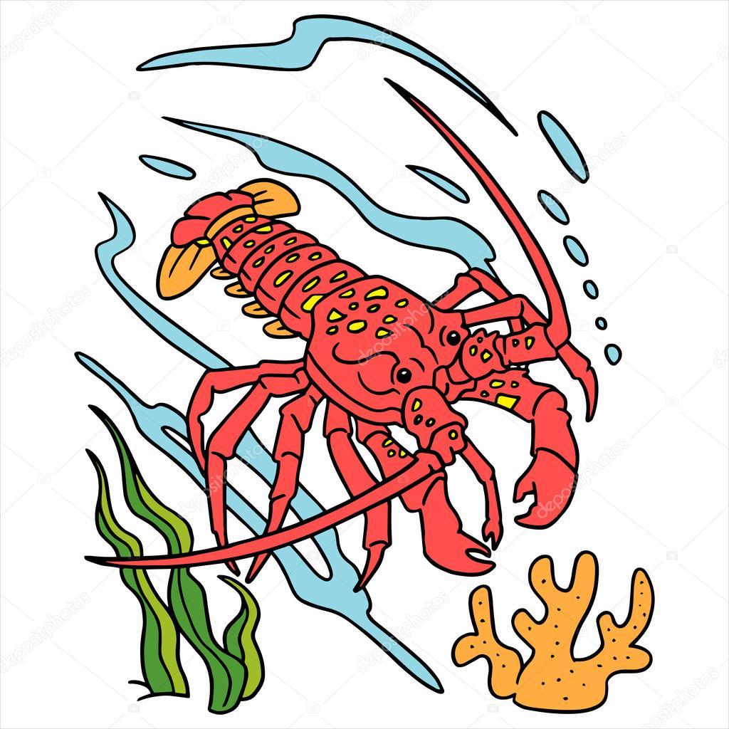 Lobster cartoon illustration isolated on white
