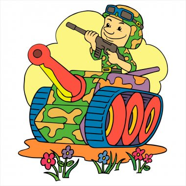Young soldier in a tank stock vector