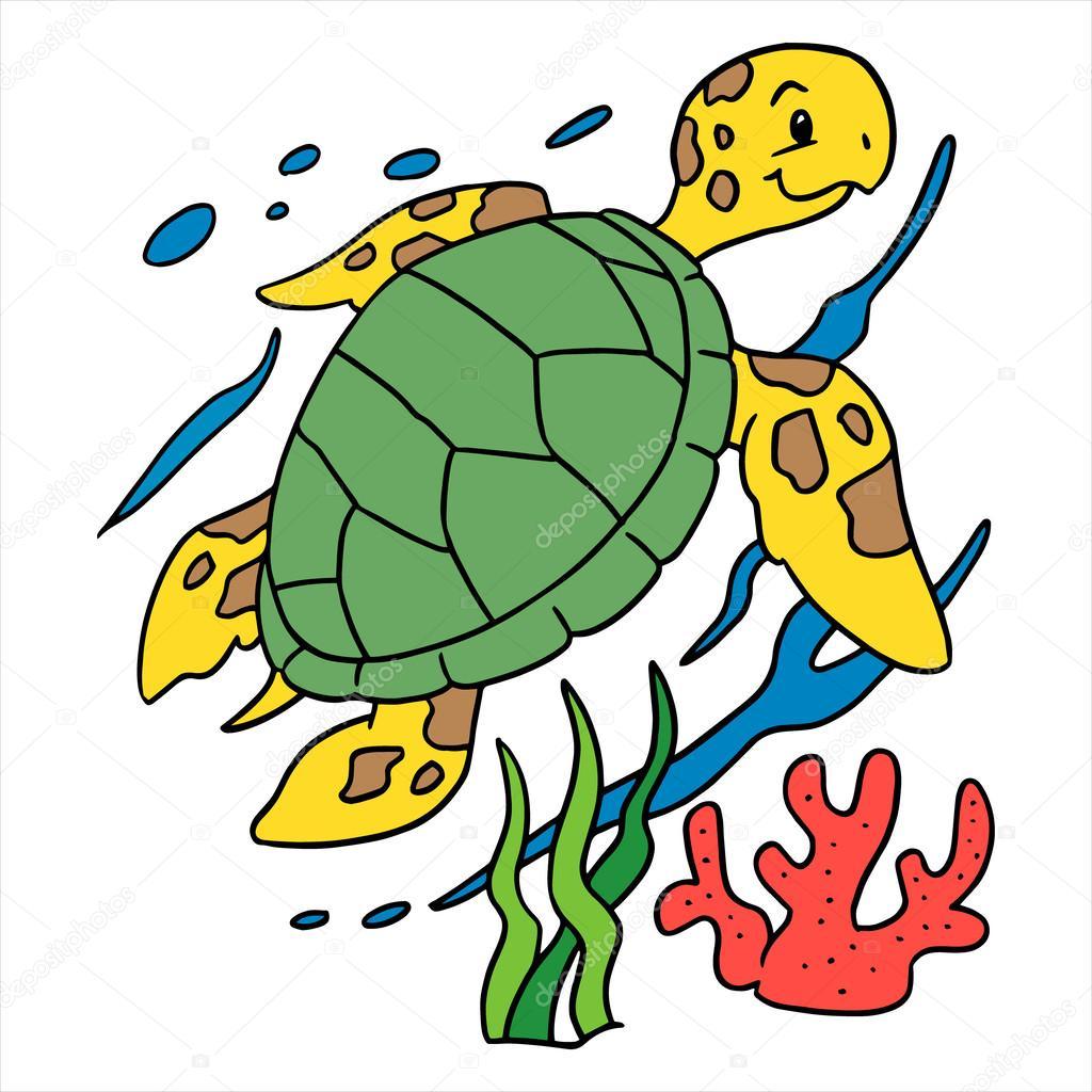 Altında Su Kaplumbağası çizimi Stok Vektör Foxynguyen 63498345