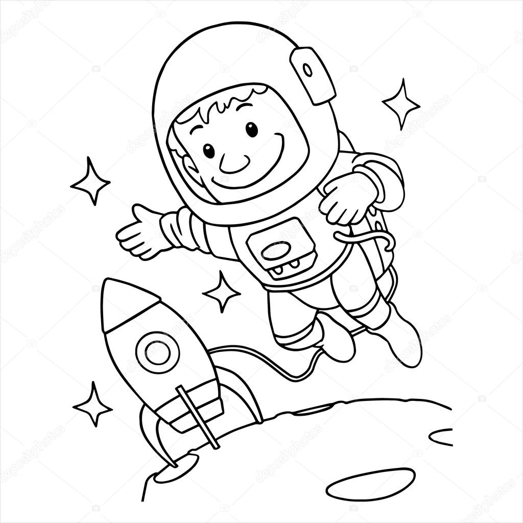 Niña astronauta para colorear | Astronauta en el espacio — Vector