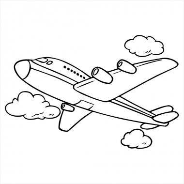 Airplane cartoon illustration isolated on white