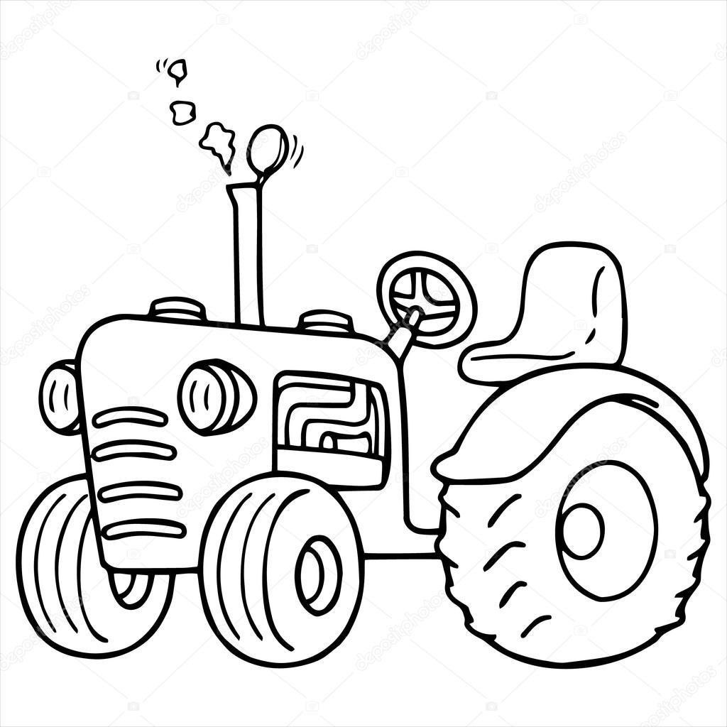 Traktor Cartoon Isoliert Auf Weiß Stockvektor Foxynguyen 65942673
