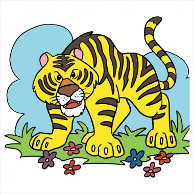 Tiger cartoon illustration isolated on white