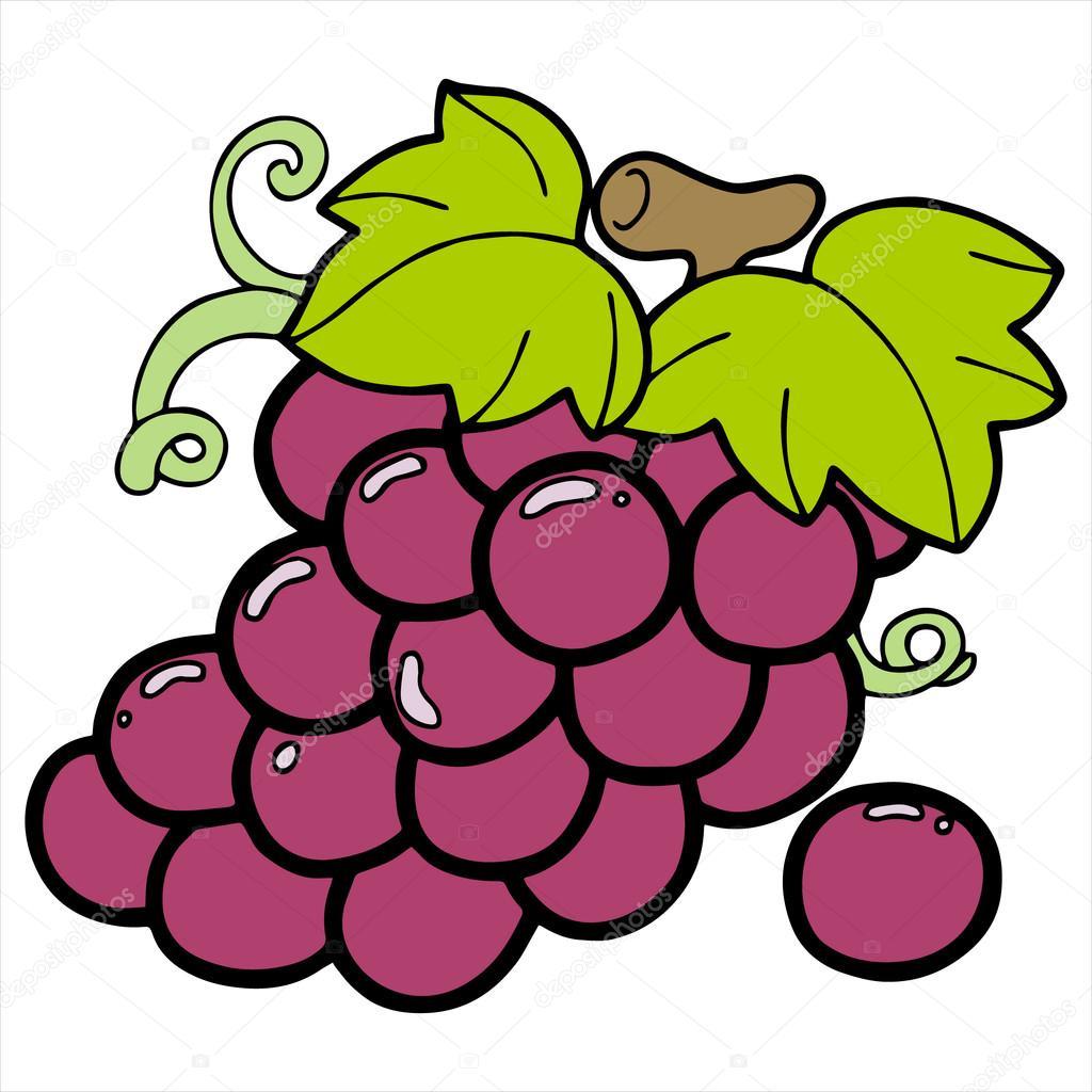 ilustração dos desenhos animados uva isolada no branco vetores de