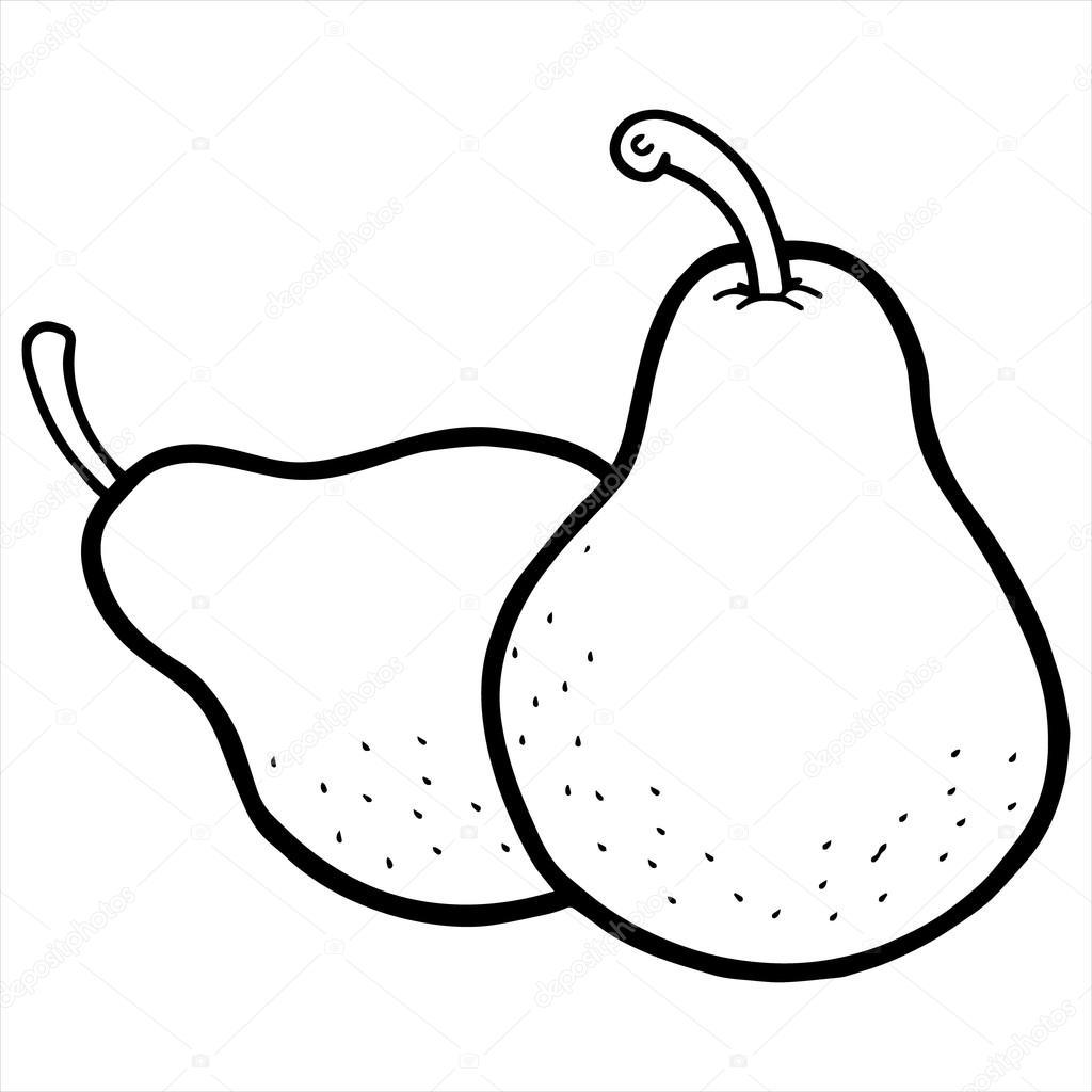Pear cartoon black and white
