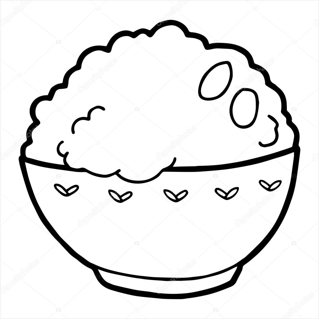 rice coloring pages for kids | Rice Isolated illustration on white background — Stock ...