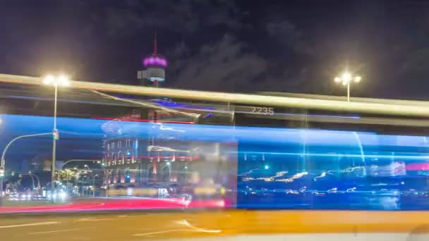 Night view of Plaza de Espana timelapse hyperlapse with Arena in Barcelona, Spain.