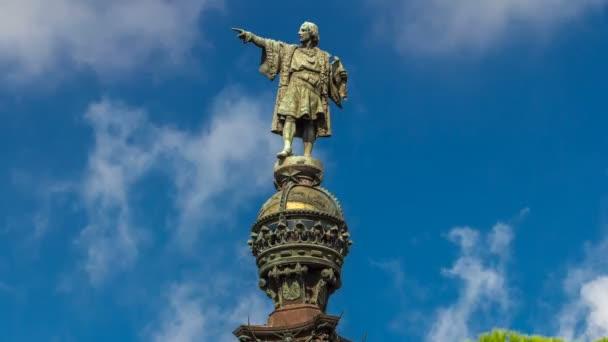 Horní části Columbus Monument timelapse hyperlapse Mirador de Colom, Barcelona, Španělsko